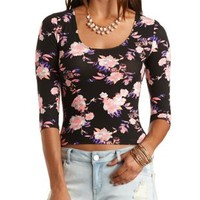 Three-Quarter Sleeve Floral Crop Top by Charlotte Russe - Black Combo