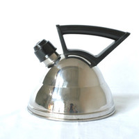 Vintage German Kettle, Whistling, Stainless Steel Bakelite Handle, Made in Germany by Schulte-Ufer, Post Modern Water or Tea Kettle