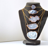 Blue Mineral Stone Slice Gold Necklace - Natural Cut Stone with Real Gold Leaf - Gold Plated Chain Necklace - Blue Geode Pendant - 18 inch