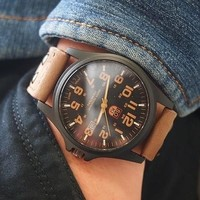 Men's Fashion Sport Watches Men Military Leather Band Quartz Wrist Watch [9210700227]
