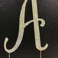 Gold Letter Initial A Birthday Crystal Rhinestone Cake Topper A Party Monogram