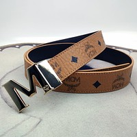 MCM hot selling classic M letter buckle fashion men and women pure color personality belt