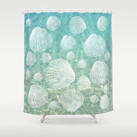 "Shower Curtain - Shells Pattern - 71"" by 74"" Home, Decor, Bathroom, Bath, Dorm, Girl, Boho, Shells, Designer, Hippie, Abstract, Water, Sea"