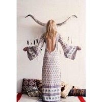Spell And The Gypsy Bohemian Royale Maxi Dress Geisha Bell Sleeves Size Small Lavender Rose Blue Byron Bay Australia