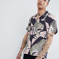 ASOS DESIGN Oversized Tiger Print Shirt With Revere Collar at asos.com