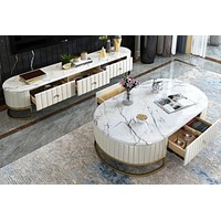 Rich White Leather Finish TV Stand & Coffee Table Furniture