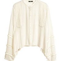 H&M - Embroidered Blouse - Natural white - Ladies