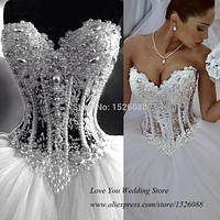 Real Pearls White Ball Gown Wedding Dresses 2015 Vestidos de Casamento Real Sample Bridal Gowns Tulle Corset Back Custom Made