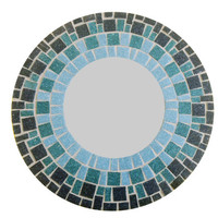 Round Mosaic Mirror // Accent Mirror // Ombre Blue, Teal, Navy