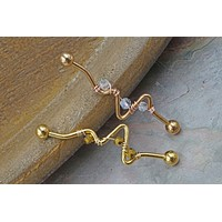Rose Gold or Gold Beaded Heartbeat Industrial Barbell