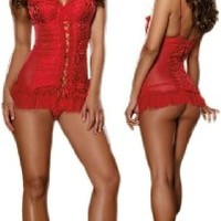 Beautiful Red Satin Floral Chemise Lingerie Set:Amazon:Clothing