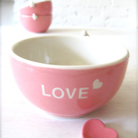 Love Heart Angel Pink Bowl with Heart Cutlery Rest
