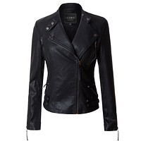 Faux Leather Fully Lined Long Sleeve Moto Biker Jacket (CLEARANCE)