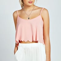 Emma Woven Scallop Edge Crop Cami Top