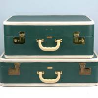 NEAR MINT Vintage Luggage Set, Vintage Suitcase, Green Suitcase, Stacking Suitcases, Antique Suitcase, 1950s Suitcase, Suitcase Set