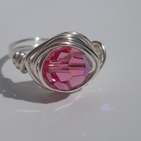 Silver Plated Wire Wrapped Pink Swarovski Crystal Ring, Custom Ring, Wire Wrapped Ring, Wire Ring, Pink Swarovski Crystal, Custom Rings