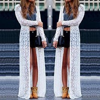 Plus Size Lace Long Sleeve Beach Kimono Cardigan Casual Loose Long Blouses 6 Colors