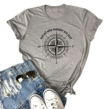 Womens Not All Who Wander Are Lost T-shirt Workout Shirts Summer Funny Letters Compass Graphic Casual Tops Athletic Tee