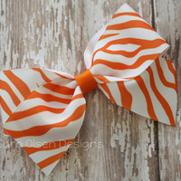 Large Classic Hairbow, Tiger Print, Orange White, Simple Bows, 4.5 Inch Hairbow, Hair Clip, Red Blue, Tigers, Girls Hairbows