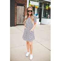 Let's Tango Striped Dress (Hot Pink)