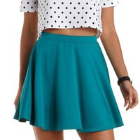 Teal High-Waisted Skater Skirt by Charlotte Russe