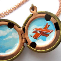 Airplane Locket - Hand-painted in Red-Orange and Sky Blue - Tiny Miniature World in a Vintage Stock Brass Ball