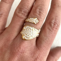 Spoon Ring, vintage gold adjustable band wide wrap antique flatware handle birthday Mother's Day birthday gift gifts