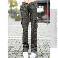 #0914 Spring 2016 Casual Sports Outdoor Straight Loose Army pants for women Khaki cargo pants women  Female Sportwear