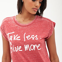 FOREVER 21 Take Less; Give More Tee Red/White