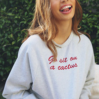 Bossy The Label - Go Sit On A Cactus Cropped Jumper - Grey