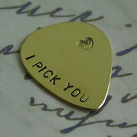 Guitar Pick, I pick you, Black Friday, Personalized guitar pick, Mens Gifts, Anniversary gifts for men, Fathers day, Brass, Aluminum,