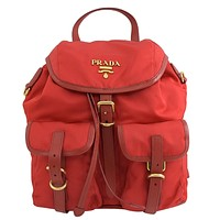 Prada Red Tessuto Nylon Calf Gold Hardware Leather Backpack 1BZ677