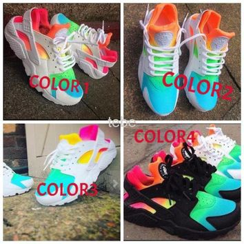 Tagre™ 2016 New Nike Air Huarache Women Men Running Shoes Rainbow Ultra Breathe Shoes Multicolor Sneakers Air Size 36-46 G