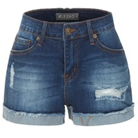 Stretchy Distressed Medium Rise Cuffed Denim Shorts with Pockets (CLEARANCE)