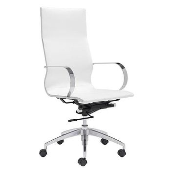 "Leather Office Chair - 27.6"" X 27.6"" X 45.3"" White Leatherette Back Office Chair"