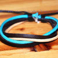 Real Leather Cotton Ropes Woven Men Leather Jewelry Bangle Cuff Bracelet Women Leather Bracelet  CP55