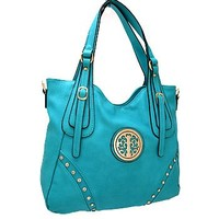 Pretty Faux Leather Fashion Shoulder Bag Purse Turquoise