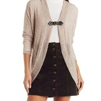 Taupe Belted Slub Knit Cocoon Cardigan by Charlotte Russe