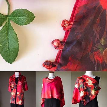 Red floral 100% Silk Satin smooth soft Long double fabric  Scarf with buttons