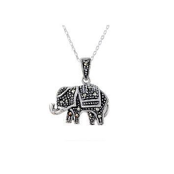 Sterling Silver Marcasite Elephant Necklace