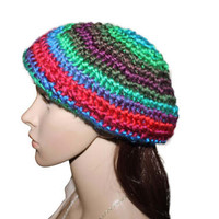 Multicolor Rainbow Slouchy Beret Hat