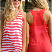 Seeing Stripes Red And White Striped Sheer Racerback Pocket Tank