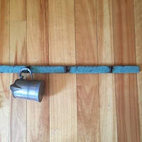 vintage butcher's or tobacco rack, 4 feet long, hand forged iron hooks, great painted wood surface, functional rustic industrial decor