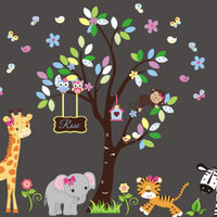 """Nursery Wall Decals, Safari Wall Stickers, Jungle Wall Decals, Monogrammed Kids Decals, Tigers Elephant Decals, Baby Decor - 83"""" x 145"""""""