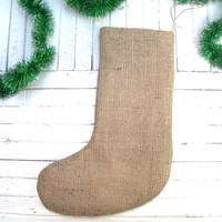 Christmas Burlap Stocking Rustic Christmas Stocking Farmhouse Decor Burlap holiday decor Fireplace decor Hessian ornament
