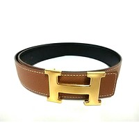 Auth HERMES H Belt Brown Gold Leather Hardware Square A Belt