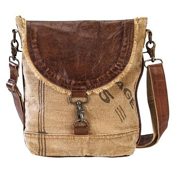 CLEA RAY Leather Flap Canvas Shoulder Bag