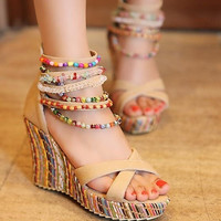 Sweet Bohemian Style Women Colorful Beads String Zipper Wedge Sandals Fashion Casual Lady Beach Shoes = 1928417476