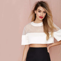 White Short Sleeve Mesh Upper Cropped Top