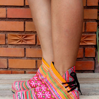Funky Womens Ankle Boots Ethnic Hmong Embroidered and Batik